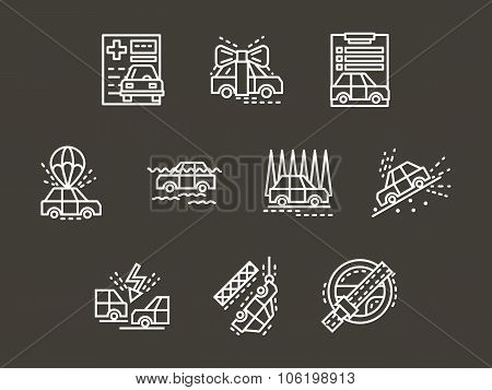 Auto insurance simple white line vector icons