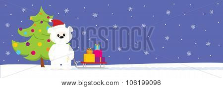 White Teddy With Sled And Tree