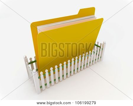 Yellow Folder Surrounded By A Fence