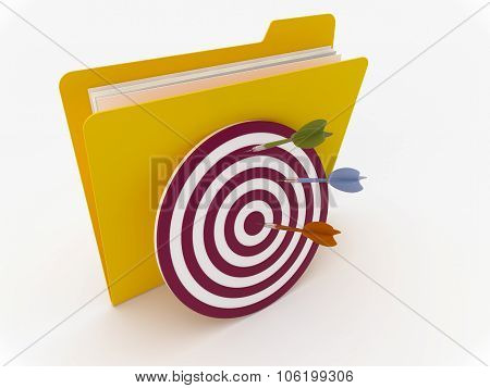 Yellow Folder With Target And Darts
