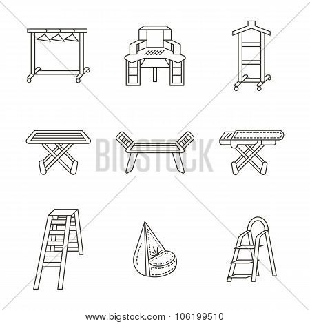 Furniture for laundry flat line vector icons set