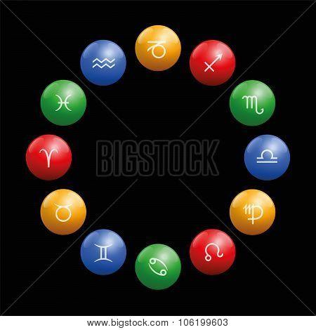 Radix Astrology Signs Circle Black
