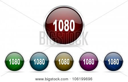 1080 colorful glossy circle web icons set