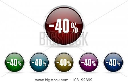 40 percent sale retail colorful glossy circle web icons set