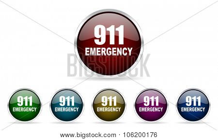number emergency 911 colorful glossy circle web icons set