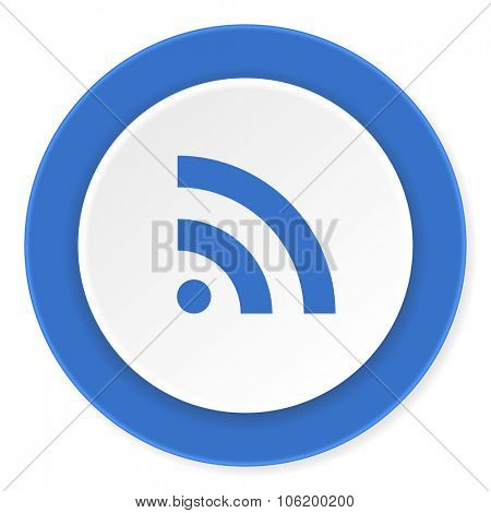 rss blue circle 3d modern design flat icon on white background