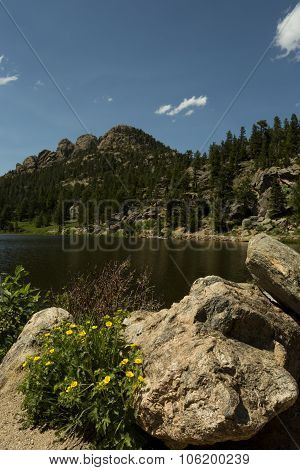 Attractive Lily Lake In Rocky Mountains Of Colorado