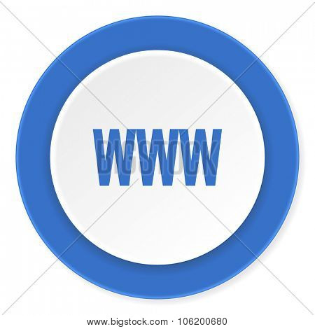www blue circle 3d modern design flat icon on white background