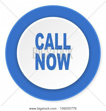 call now blue circle 3d modern design flat icon on white background