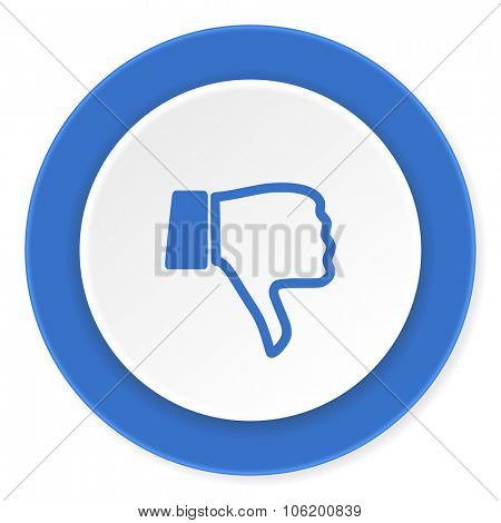dislike blue circle 3d modern design flat icon on white background