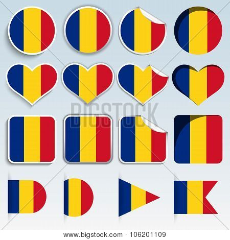 Set Of Romania Flags In A Flat Design
