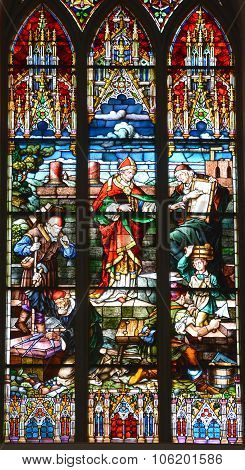 Stained glasses in Lutheran Cathedral in Riga