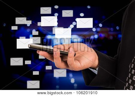 Business Man Sending Email.