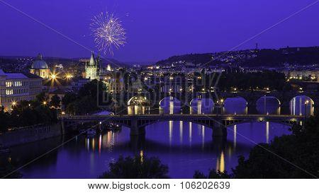 Fireworks over Prague & Charles Bridge