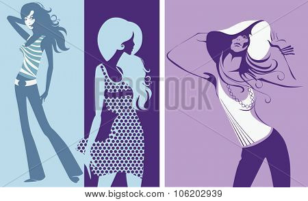 colorful silhouette of fashion girls