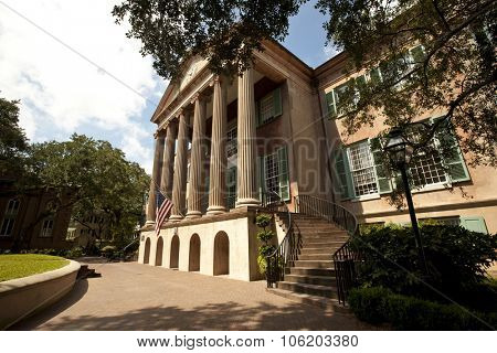 CHARLESTON, SOUTH CAROLINA - SEPTEMBER 11, 2015:  The College of Charleston, founded in 1770,  is located in the historic district of Charleston, South Carolina.