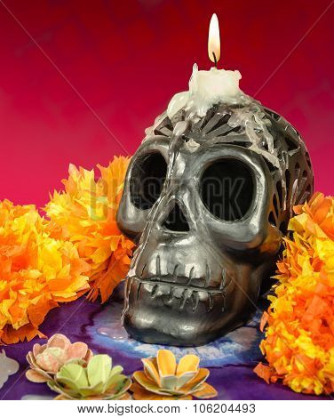 Oaxacan Black Clay Skull With Candle