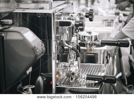 Coffee Machine And Barista In Restaurant Cafe Background