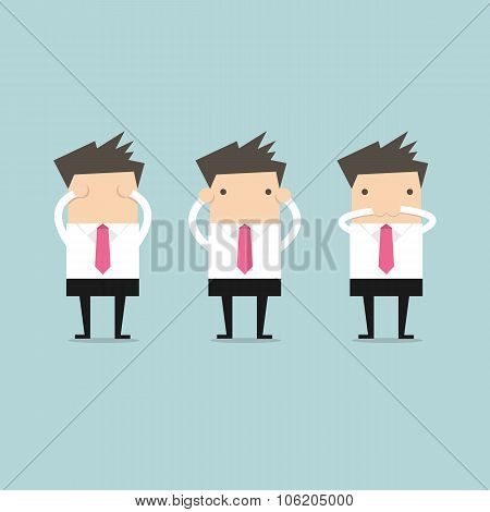 Businessman like three little monkeys 3 close