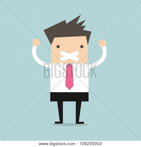 Businessman tape on his mouth