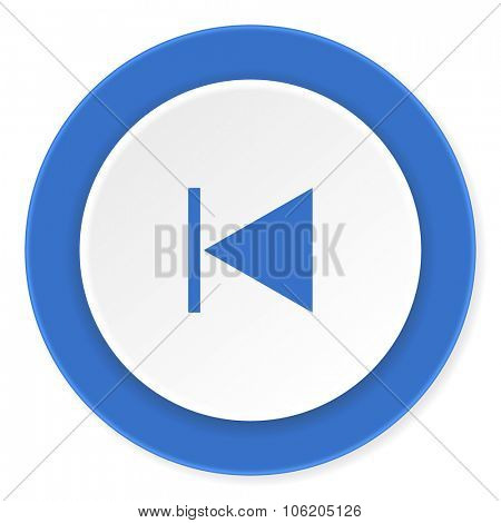 prev blue circle 3d modern design flat icon on white background