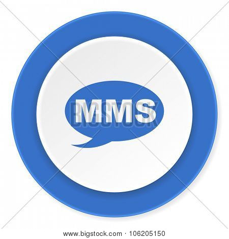 mms blue circle 3d modern design flat icon on white background
