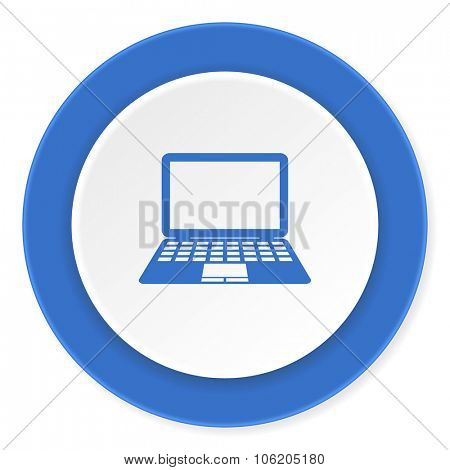 computer blue circle 3d modern design flat icon on white background