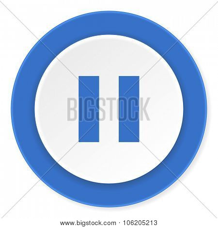 pause blue circle 3d modern design flat icon on white background