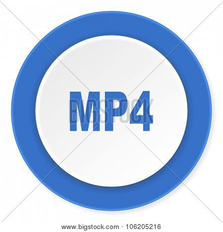 mp4 blue circle 3d modern design flat icon on white background