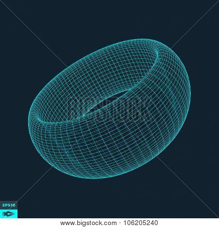Torus. Molecular lattice. Connection structure. 3d Vector Illustration.