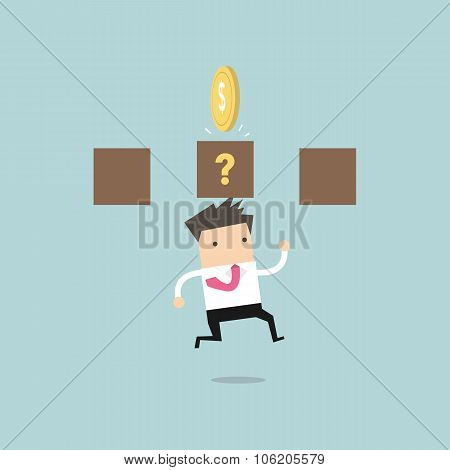 Businessman jump and hit a coin box