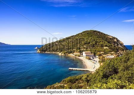 Elba Island Sea, Portoferraio Enfola Headland Beach And Coast. Tuscany, Italy.