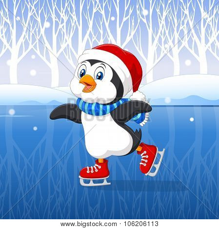 Cute cartoon penguin doing ice skating with winter background