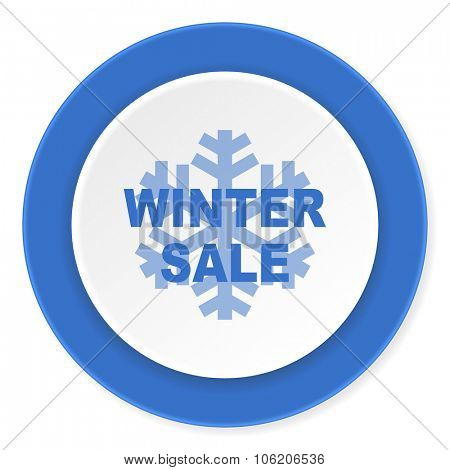 winter sale blue circle 3d modern design flat icon on white background