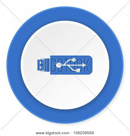usb blue circle 3d modern design flat icon on white background