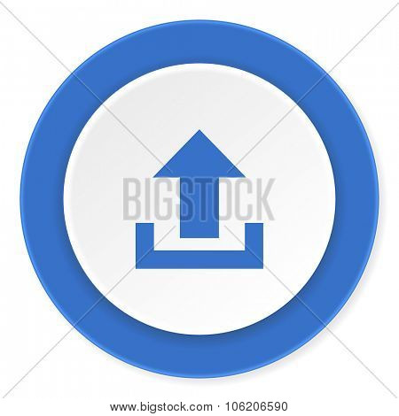 upload blue circle 3d modern design flat icon on white background