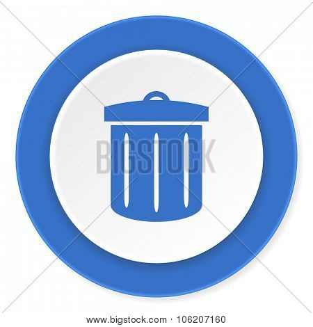 recycle blue circle 3d modern design flat icon on white background