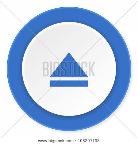 eject blue circle 3d modern design flat icon on white background
