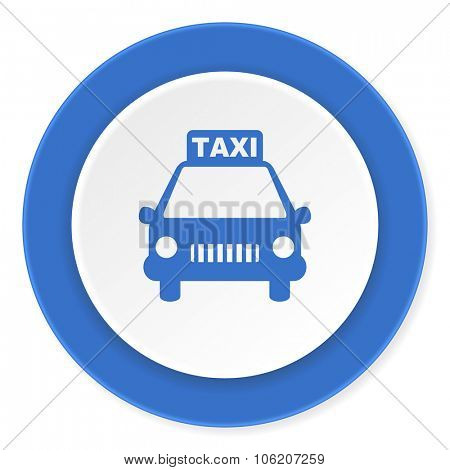 taxi blue circle 3d modern design flat icon on white background