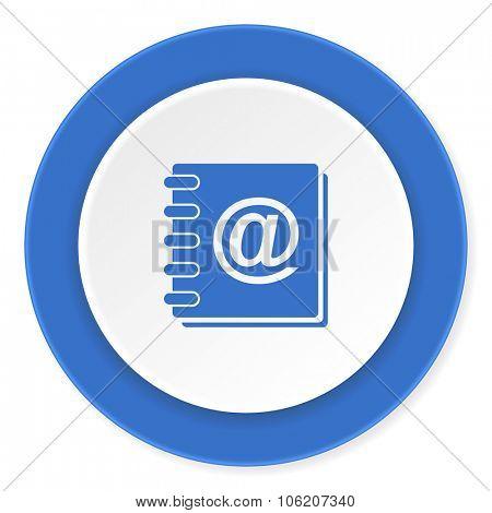 address book blue circle 3d modern design flat icon on white background