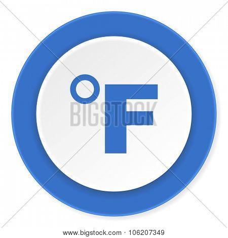 fahrenheit blue circle 3d modern design flat icon on white background