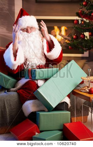 Santa Looking Lost Having Too Much Work