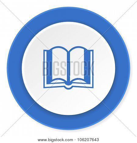 book blue circle 3d modern design flat icon on white background
