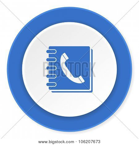 phonebook blue circle 3d modern design flat icon on white background