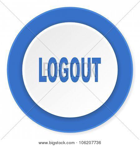 logout blue circle 3d modern design flat icon on white background