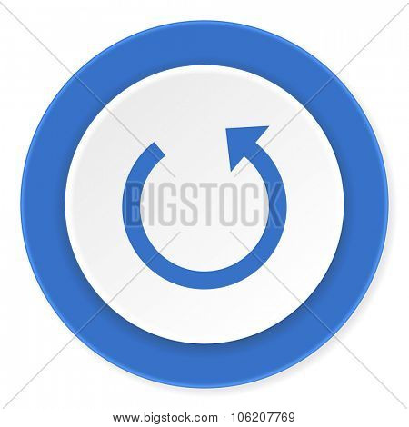 rotate blue circle 3d modern design flat icon on white background