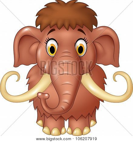 Cartoon cute mammoth isolated on white background