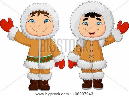 Cartoon happy Eskimo kids waving hand