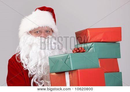 Santa Holding Christmas Presents