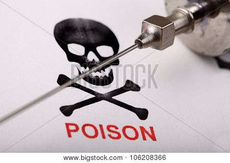 Poison In The Syringe. Crime Scientific Concept. Close-up